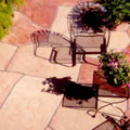 Fitted flagstone patio